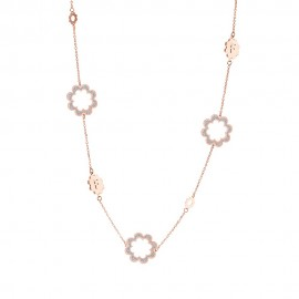 Collana chanel rosa fiore bottone mm 18 glitter