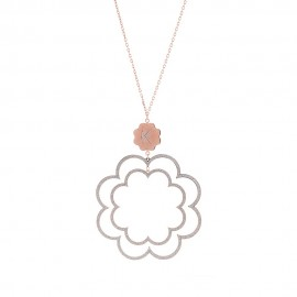 Collana con pendente fiore thin rosa con bottone mm 15 glitter