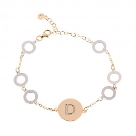Bracciale 7 elementi disco bottone mm 16 basic rodio-dorato
